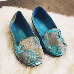 New Sequins flats, slippers, gray & blue, tweed